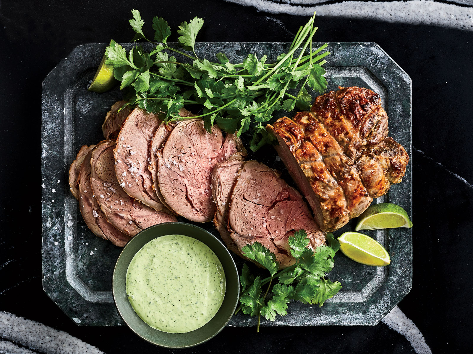 Cold Roasted Leg of Lamb with Cilantro Jalapeno Yogurt