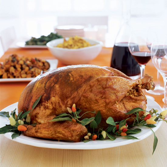 Chile-Roasted Turkey with Chorizo-Corn Bread Stuffing