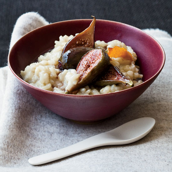 Soy Milk Arborio Rice Pudding with Poached Figs