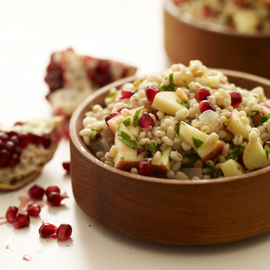 Pearled Barley Salad with Apples, Pomegranate Seeds and Pine