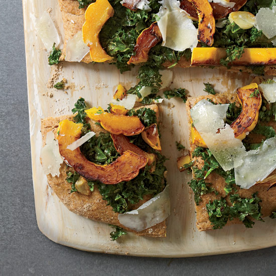 Focaccia with Kale, Squash and Pecorino