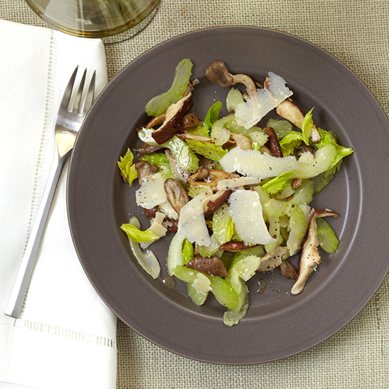 Celery and Mushroom Salad with Shaved Parmigiano
