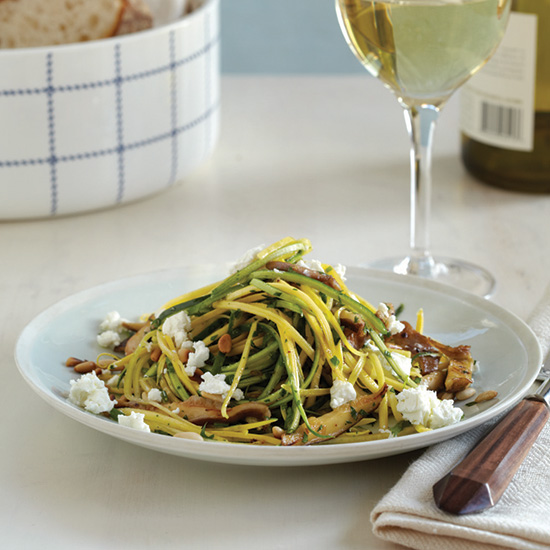 Squash and Zucchini  Linguine  with Goat Cheese
