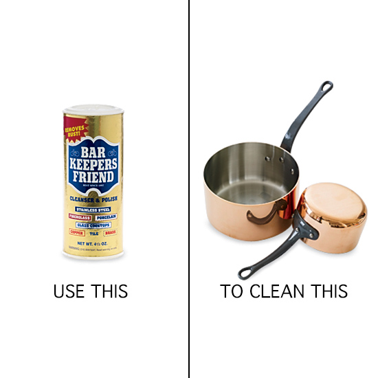 Use Bar Keepers Friend to Clean Copper Pots