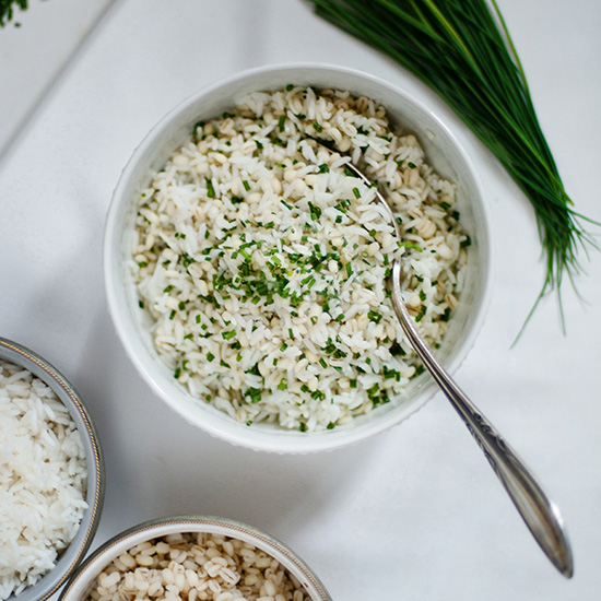 Barley and Rice with Sesame Oil and Chives