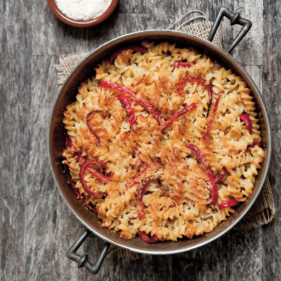 Fusilli with Three Cheeses and Red Bell Pepper