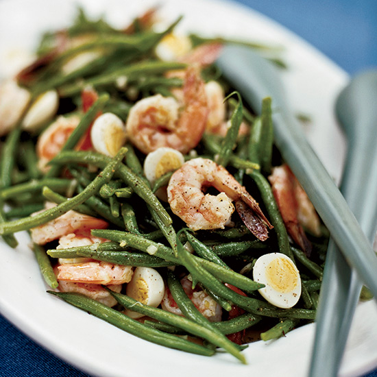 Haricot Vert Salad with Quail Eggs and Shrimp
