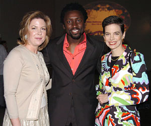 F&W Editor in Chief Dana Cowin and Publisher Julie McGowan flanking DJ Tony Okungbowa from <em>The Ellen DeGeneres Show</em>.