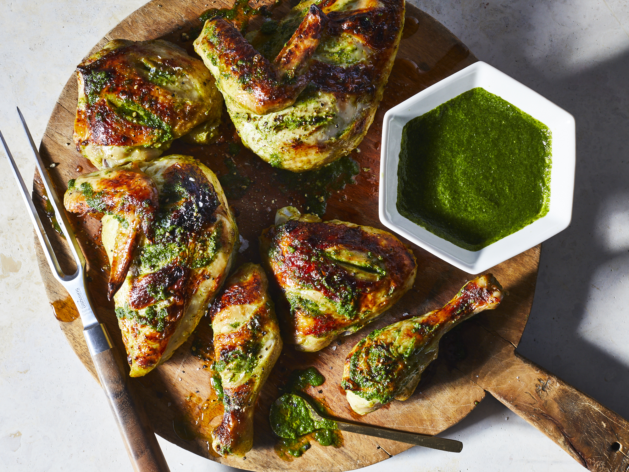 Roast Chicken with Cilantro-Mint Chutney