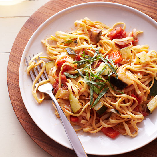 Linguine with Ratatouille Sauce