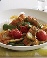 Thai Chicken, Zucchini and Tomato Curry