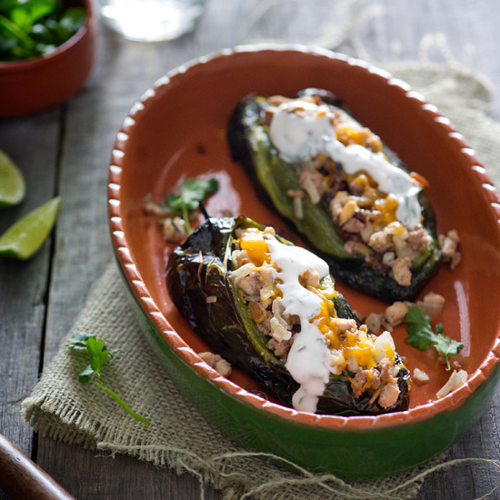 Meat-Stuffed Poblanos with Cilantro-Lime Sauce