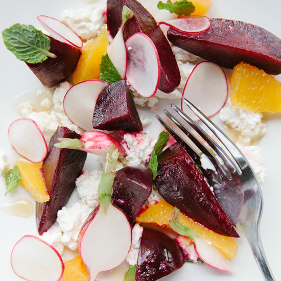 Beetroot Radish Orange Salad with Goat Cheese