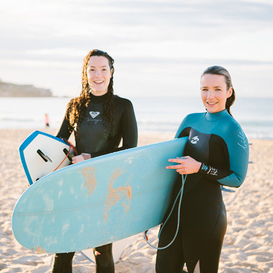 Ladies after surfing Bondi Beach