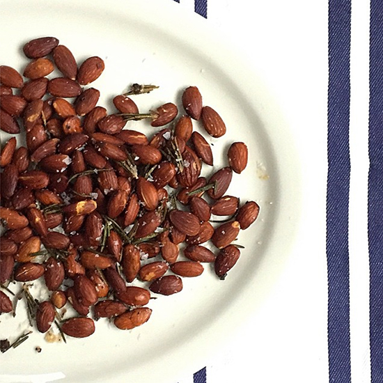 Spiced Almonds, Bee Pollen Crumble and DIY Pizza Bagels