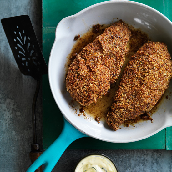 Pecan&#45Crusted Chicken with Mustard Sauce