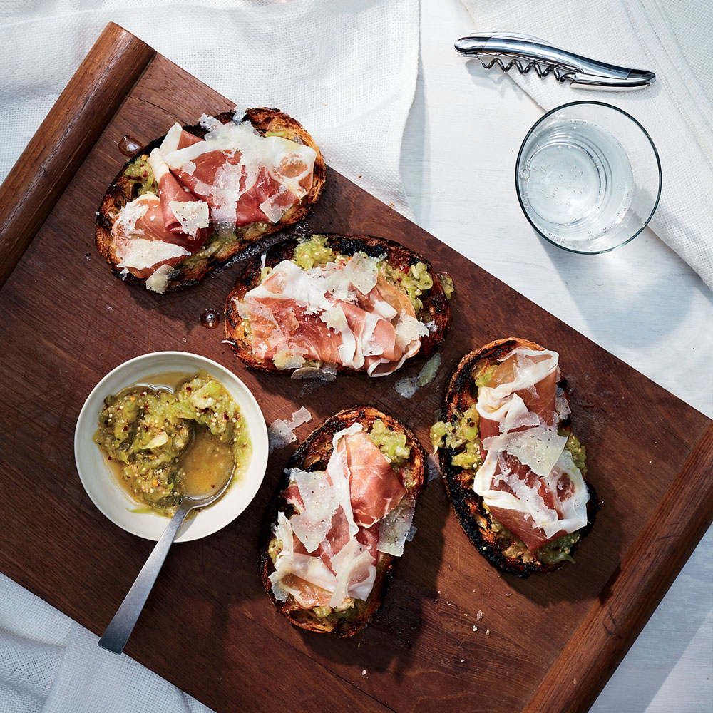 Tomatillo Toasts with Prosciutto and Manchego