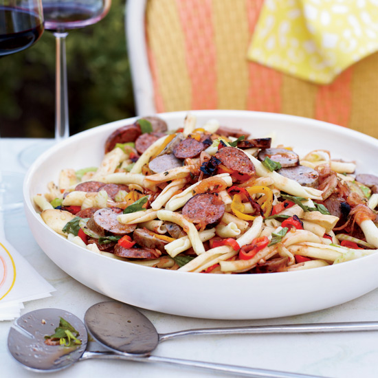Pasta Salad with Grilled Sausages and Peppers