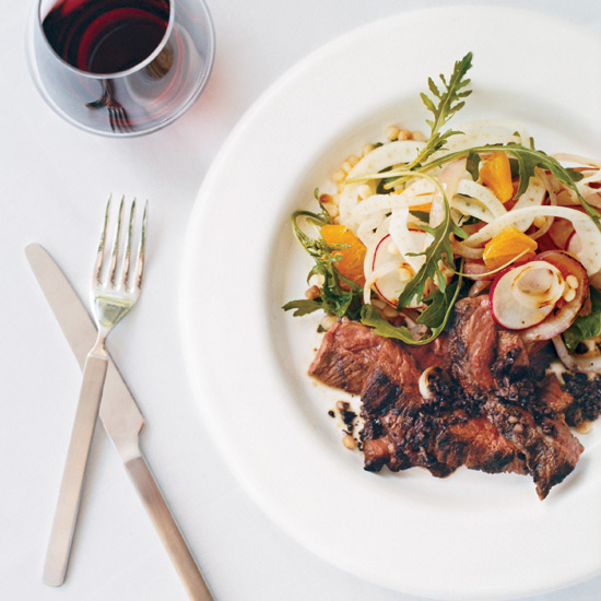 Grilled Skirt Steak with Fregola-Orange Salad