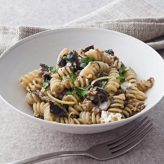 Fusilli Pasta Recipes like Fusilli with Roasted Eggplant and Goat Cheese