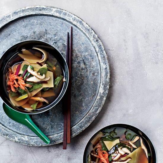 Shiitake-and-Swiss-Chard Soup with Hand-Cut Noodles