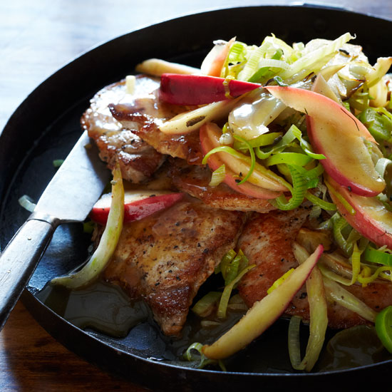 Pork Chops with Apple, Fennel and Sage