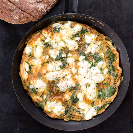 Spinach, Feta, and Tarragon Frittata