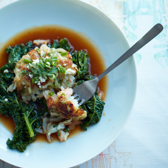 Shrimp-and-Potato Cakes with Kale Braised in Chile Broth