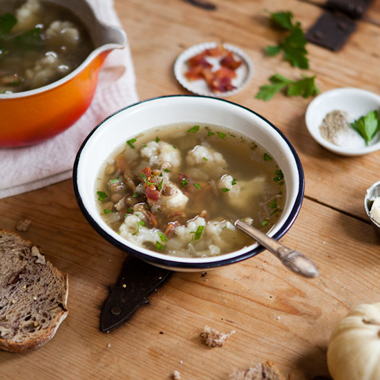 Lentil Soup with Cauliflower and Bacon