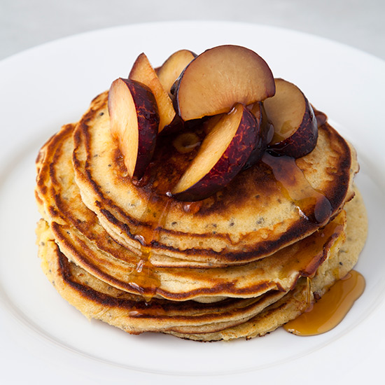 Chia Mascarpone Pancakes with Fresh Plums