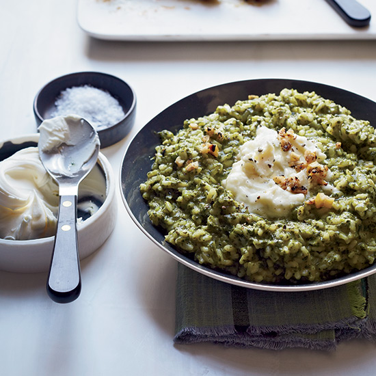 Broccoli Rabe Risotto with Grilled Lemon