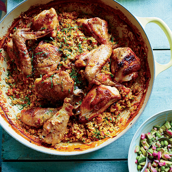 Jose Enrique: Arroz Con Pollo with Avocado Green-Pea Salsa