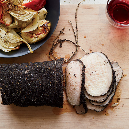 Earl Grey-Crusted Pork Loin with Fennel and Apples