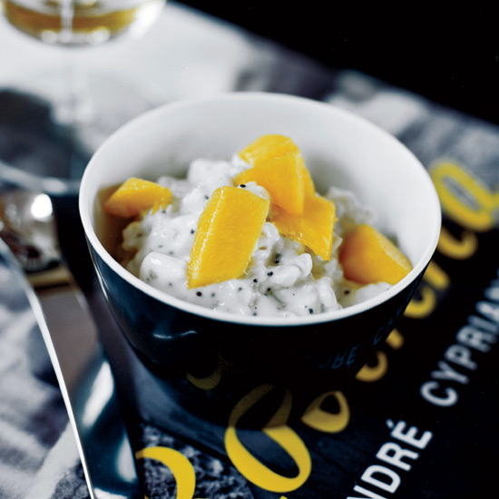 Lime-Scented Poppy-Seed Rice Pudding with Mango