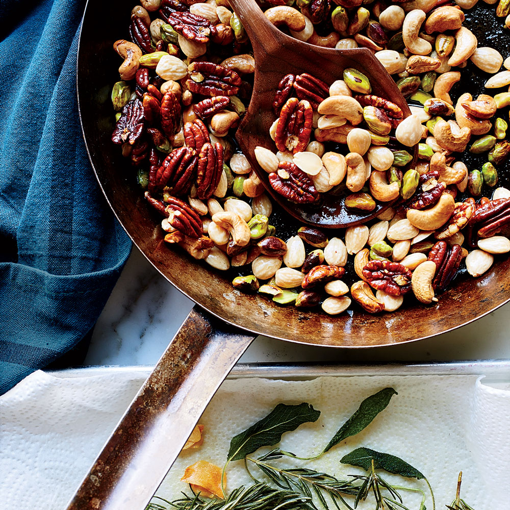 Mixed Nuts with Crispy Herbs and Garlic