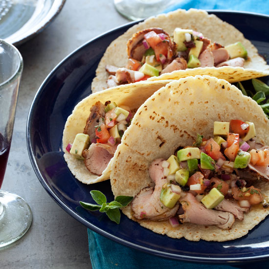 Pork Tenderloin Tacos with Avocado Salsa