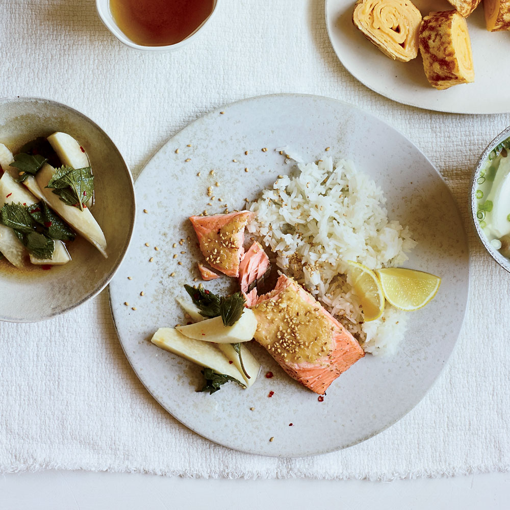 Quick-Brined Roast Salmon with Lemon-Garlic Oil