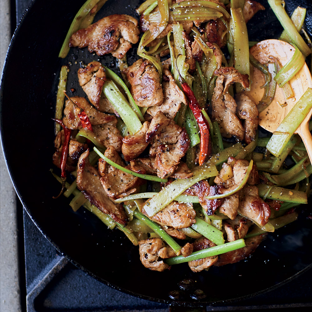 Red Chile Pork and Celery Stir-Fry