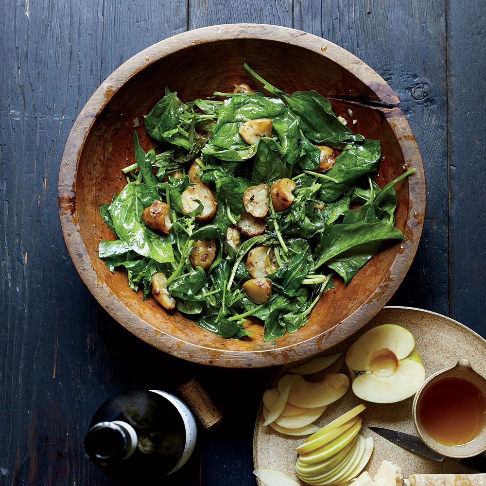 Warm Spinach and Sunchoke Salad