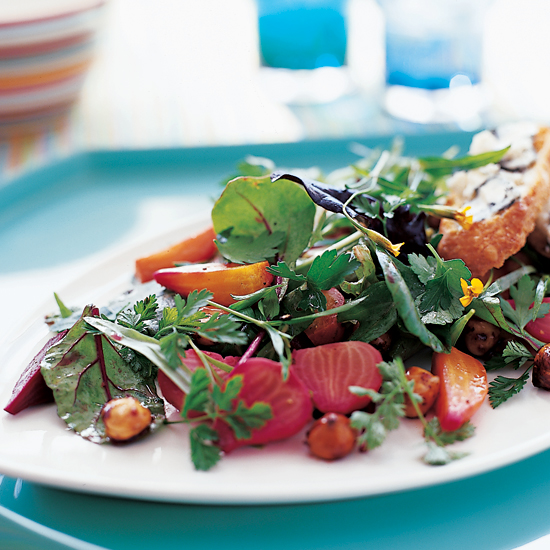 Summer Greens and Herbs with Roasted Beets and Hazelnuts