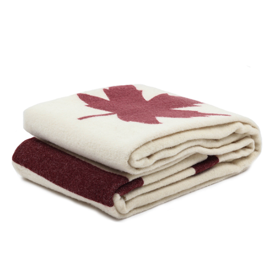 Faribault Woolen Mill Foot Soldier Maple Leaf Blanket