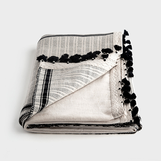 Injiri Border Stripe Khadi Throw