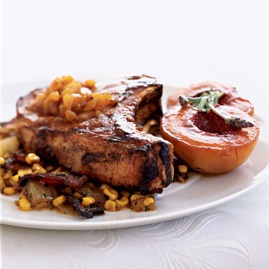 Grilled Pork Chops with Corn Salad and Lavender Peach Sauce
