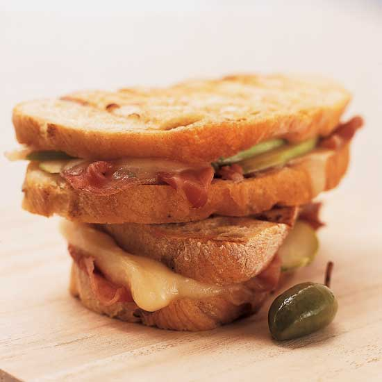 Prosciutto, Brie and Apple Panini with Scallion Butter