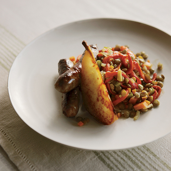 Lamb Sausage with Lentils and Sautéed Pears