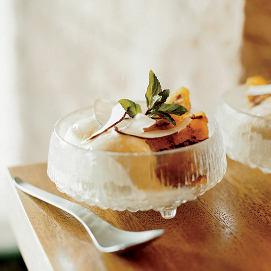 Caramelized Pineapple Sundaes with Coconut
