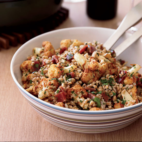 Farro Salad with Fried Cauliflower and Prosciutto