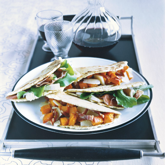 Prosciutto-Cheese Piadina and Butternut Squash–Pecorino Piadina