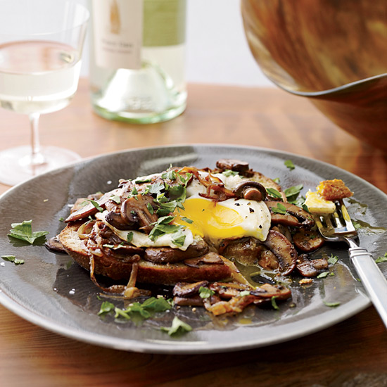 Sherried Mushrooms with Fried Eggs on Toast