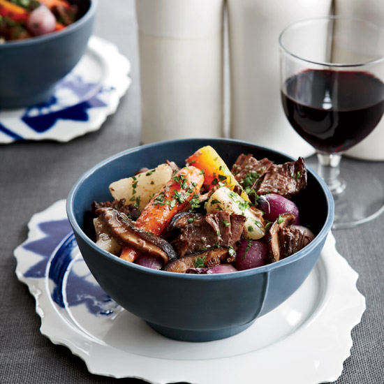 Short Ribs with Mushrooms and Spring Vegetables